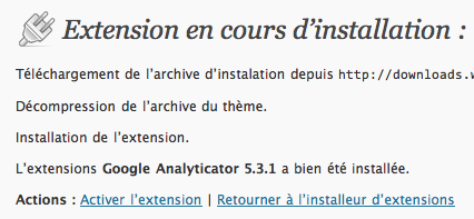 google analyticator activer